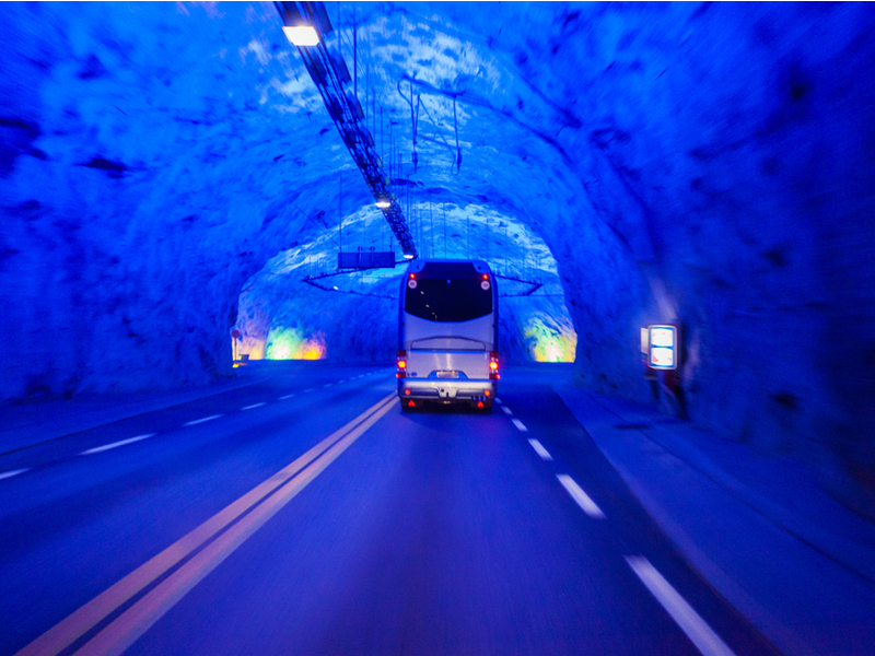 The 24.5km-long tunnel links Aurland and Laerdal.
