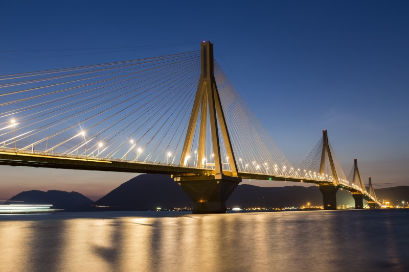The cable-stayed bridge was opened to traffic in 2004.