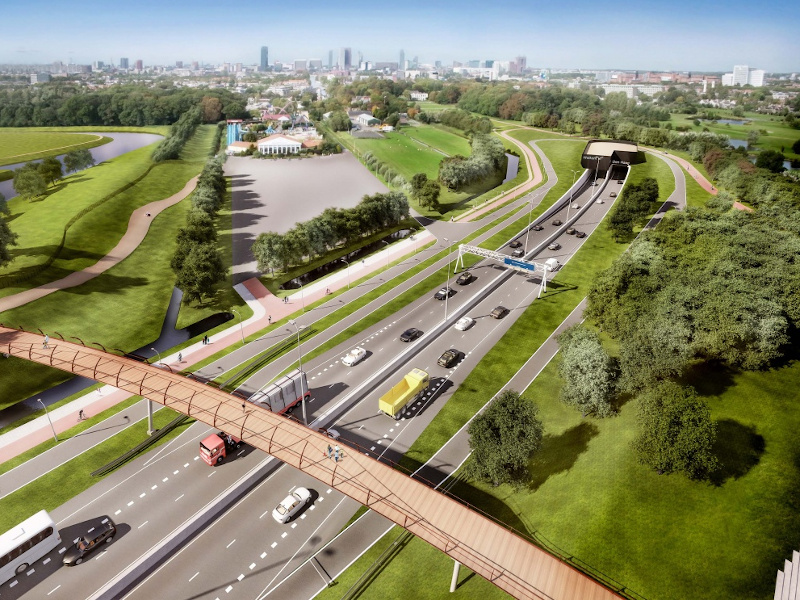 The 4km-long Rotterdamsebaan project will connect the A4 and A13 motorways to the Centrumring of The Hague. Credit: BAM Bouw en Techniek bv.