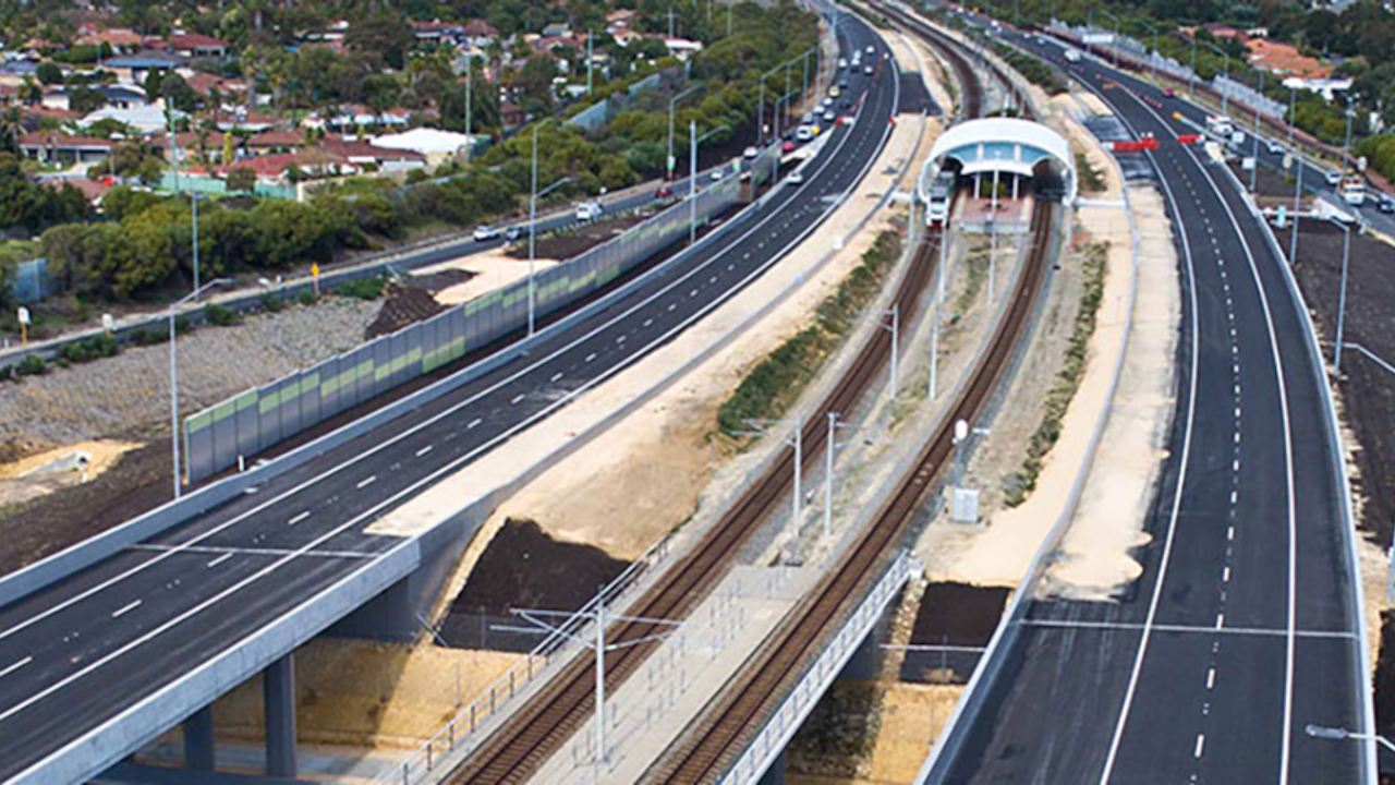 The 5.6km-long Mitchell Freeway extension from Hester Avenue to Romeo Road is expected to be completed in October 2022. Credit: Philip Mallis.