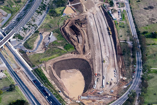 An aerial view of the Bringelly Road upgrade site.