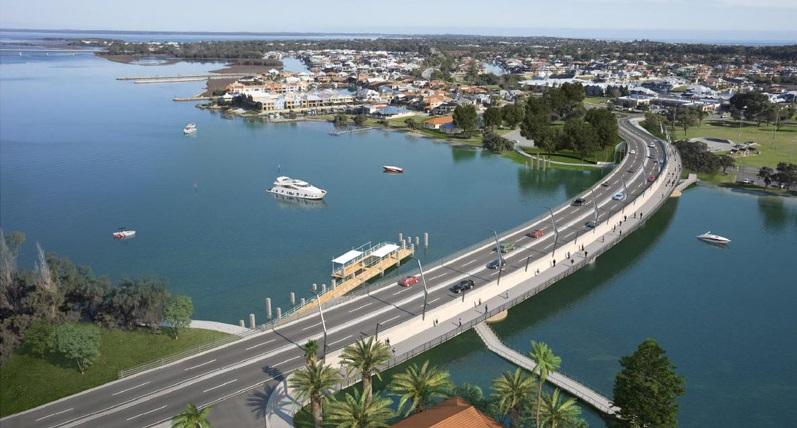 Aerial view of Old Mandurah Bridge