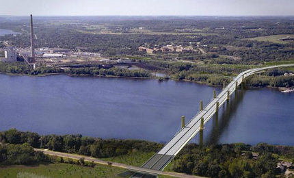 An artist's rendering showing the aerial view of St Croix river crossing.