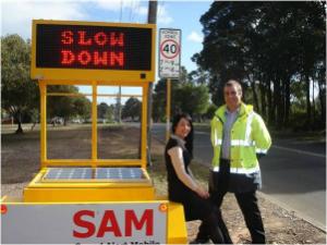 SAM roadside sign