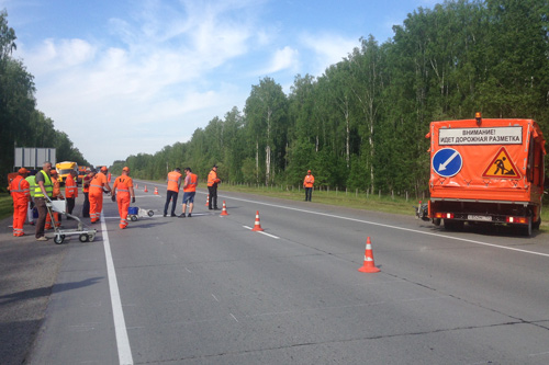 Geveko Markings is participating at test site in Novosibirsk in Russia.